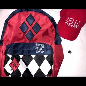 Bags - Harley Quinn Backpack, Hello Puddin Hat & pin